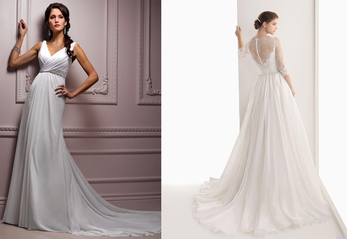 فستان زفاف ذات قماش الشيفون