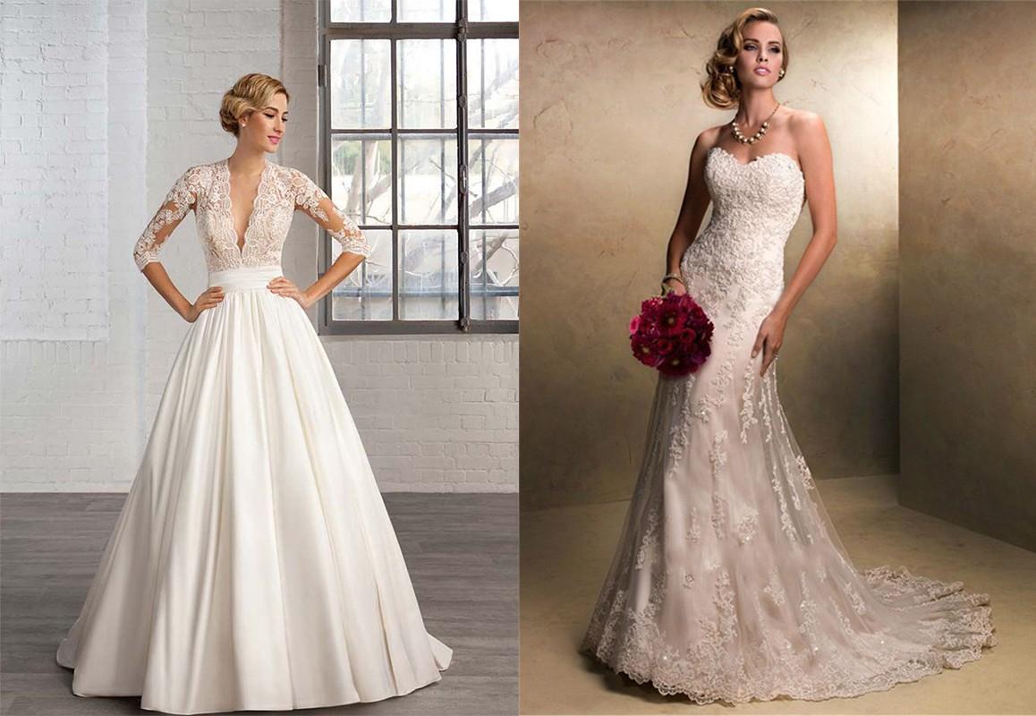 فستان زفاف ذات قماش الدانتيل