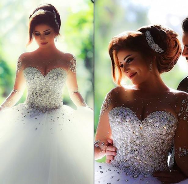فساتين زفاف مزينة بالكريستال