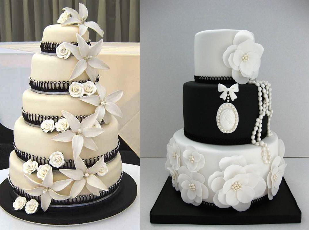 كعكة الزفاف باللونين الابيض والاسود