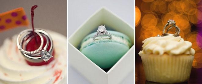 تصوير الخواتم فوق حلوى الزفاف