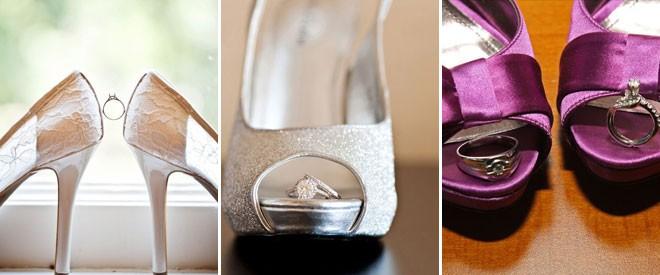 تصوير الخواتم داخل حذاء العروس