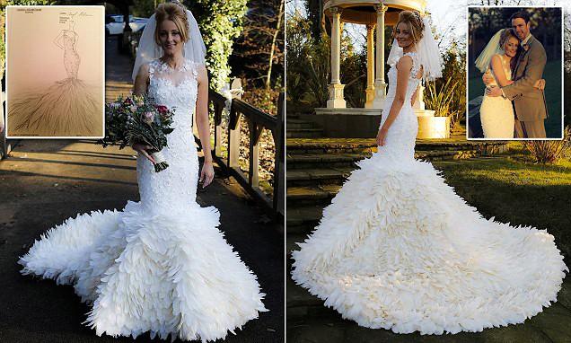 فساتين زفاف الريش