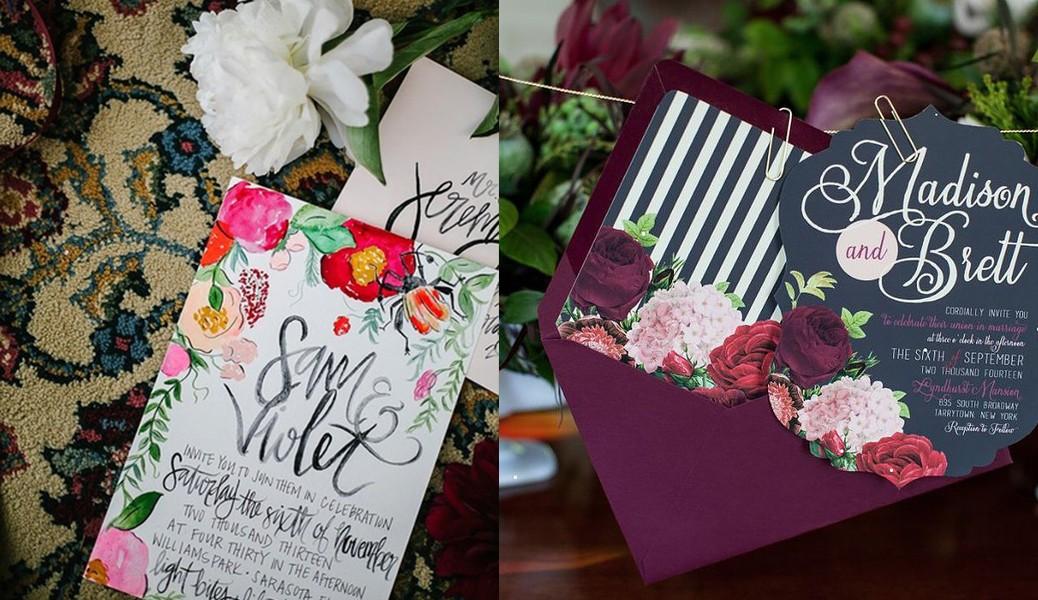بطاقات زفاف ملونة