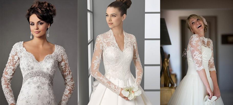 أجمل فساتين الزفاف بأكمام طويلة