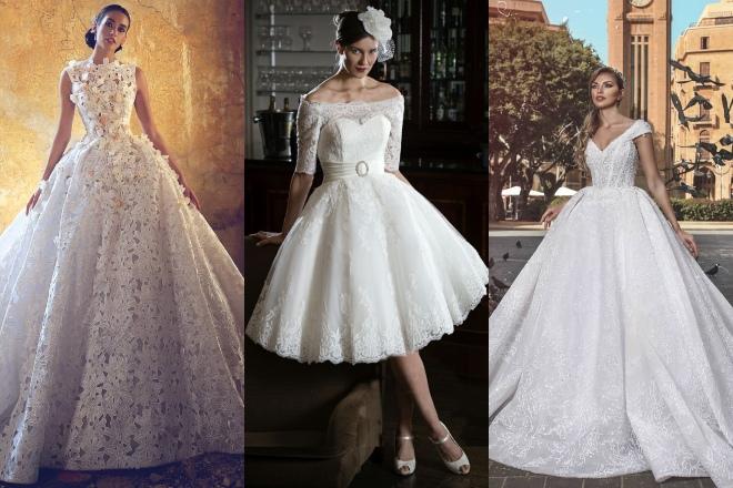فساتين زفاف قصيرة وفساتين سندريلا
