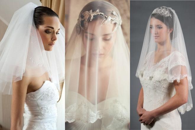 طرحة الزفاف التي تصل إلى الكتفين